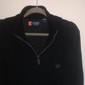 Chaps Men's Large Black Quarter Zip Sweater
